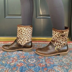 Sperry Britt Brown Leather and Leopard Boots
